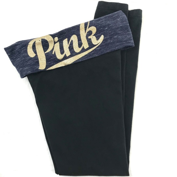 PINK Victoria's Secret Pants - V.S. PINK Yoga Black Foldover Leggings XS